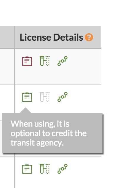 screenshot of Transitland Feed Registry: mousing over an informational license icon