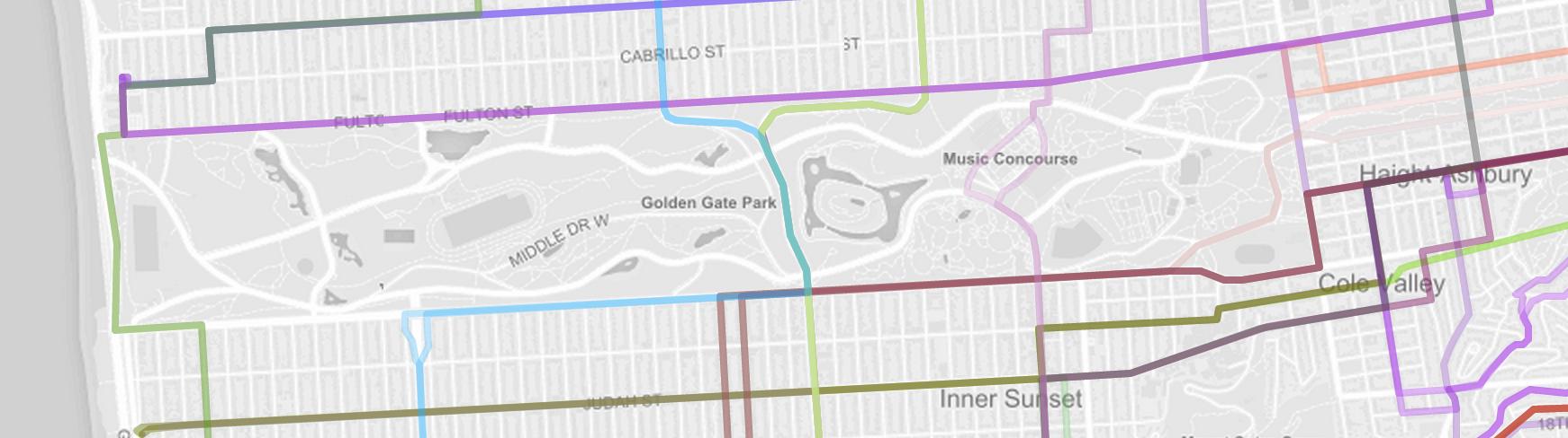 Transit routes around Golden Gate Park